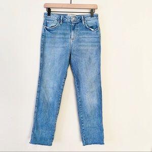 Free People High Waist Raw Hem Light Wash Jeans